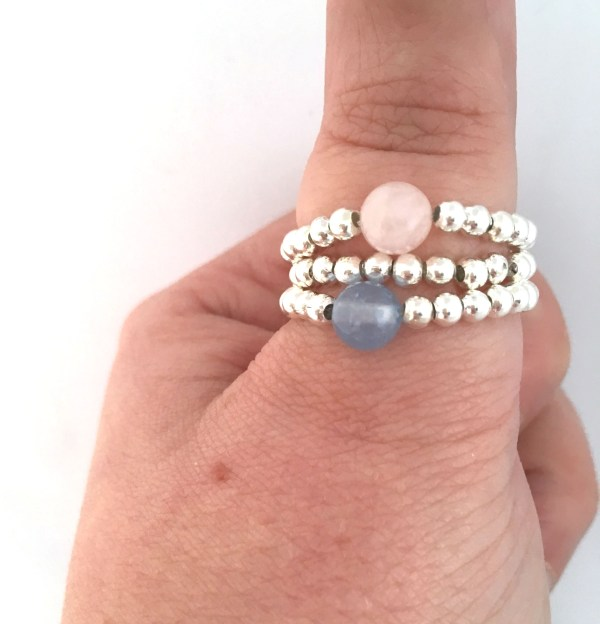 Rose Quartz Stretch Ring, Gemstone Rings