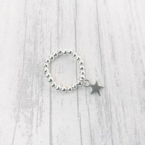 Stacking stretch silver star ring