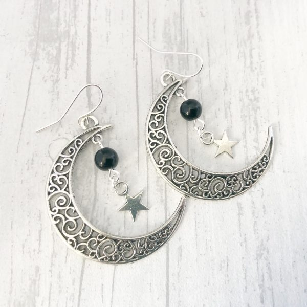 Black Onyx Crescent Moon Earrings Pagan Wiccan