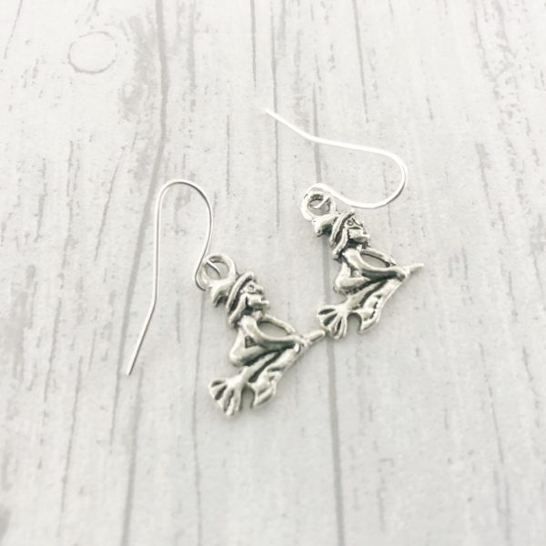 Witch Earrings Dangly Drop Silver Plated