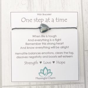 One Step at a Time Wish Bracelet, Mental Health, Support Gift