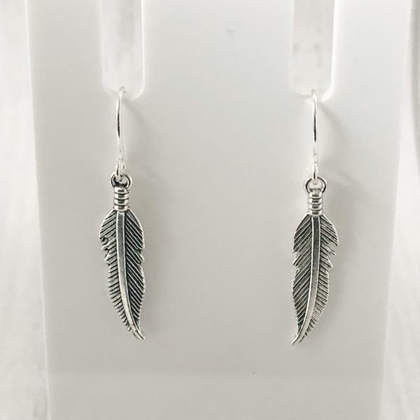 Feather Earrings Minimalist Silver Plated or Sterling Silver