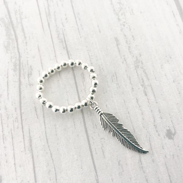 Feather Ring Silver Plated Minimalist Stretchy Ball