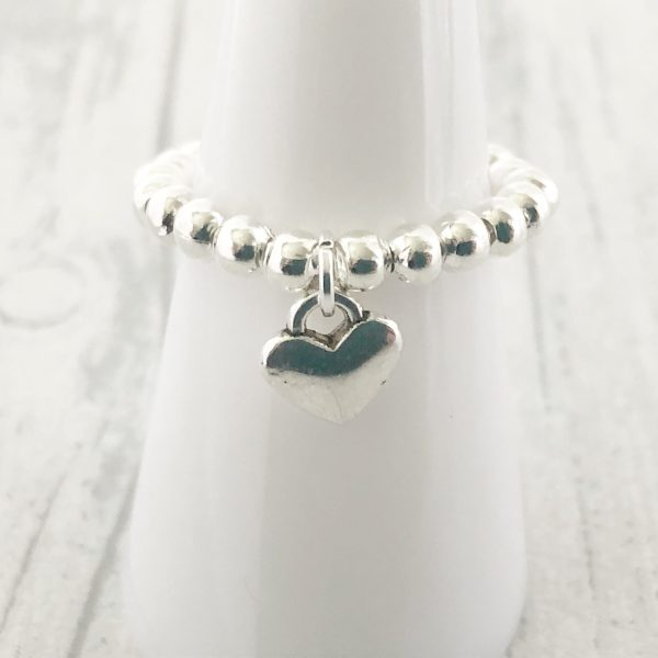 Heart Ring Stacking Stretchy Silver Plated Ball