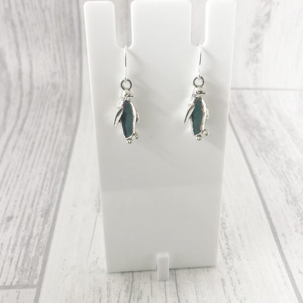 Penguin Earrings Silver Plated Dangly Drop