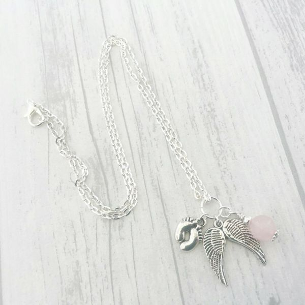 Angel Baby Memorial Necklace, Baby Loss, Baby Memorial, Rose Quartz Healing