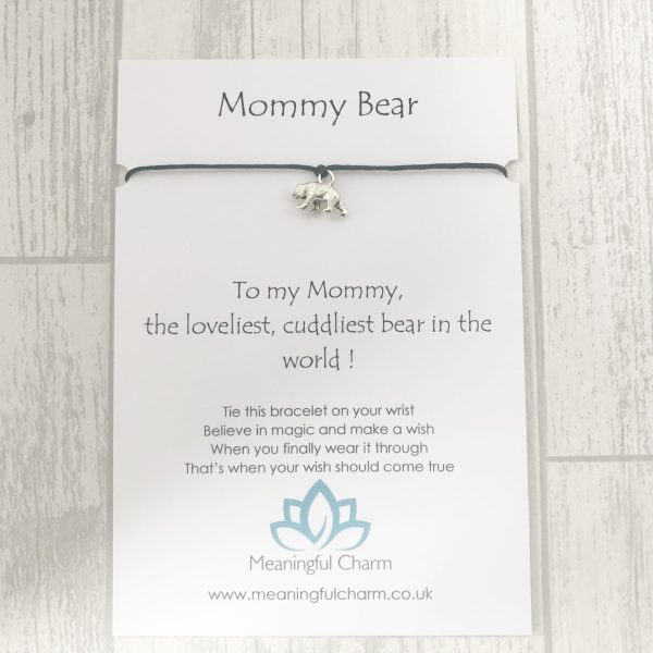 Mommy Bear Wish Bracelet Gift, Mummy Gifts, Mothers Day