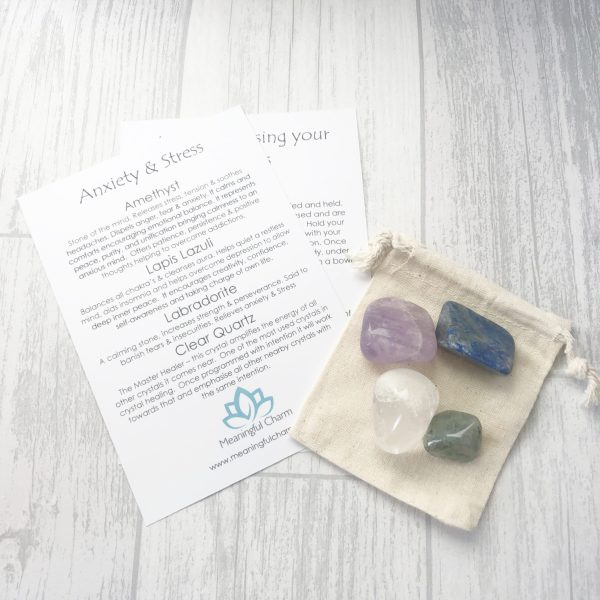 Anxiety Crystal Set, Anxiety Tumble Stones, Anxiety Gifts, Mental Health Gifts, Crystal Healing