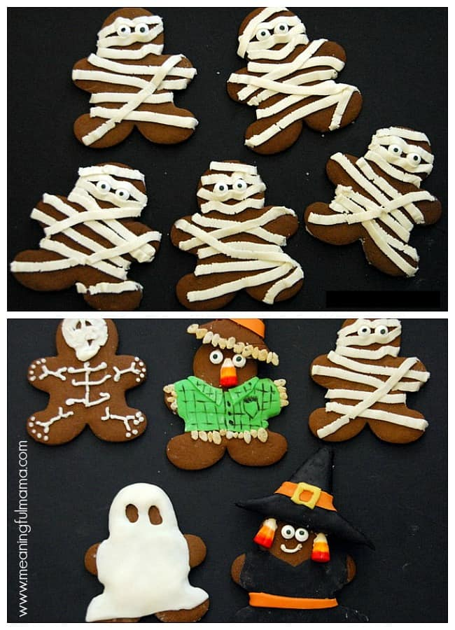 halloween gingerbread cookies mummies - Halloween Gingerbread Cookies