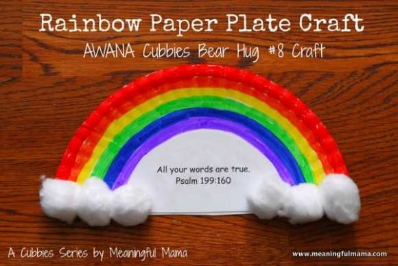 1-#rainbow paper plate craft #cubbies bear hug #8 #awana-008