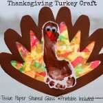 Thanksgiving Footprint Turkey with Tissue Paper Stained Glass Wings