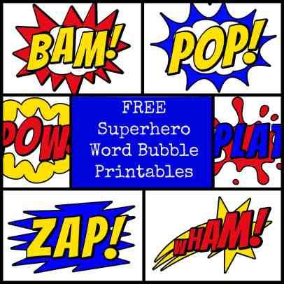 #superhero #printable word bubbles #free
