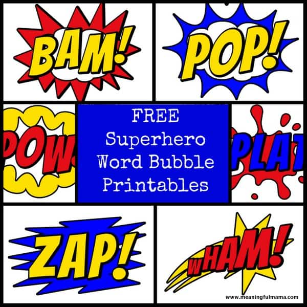 1-#superhero #printable word bubbles #free