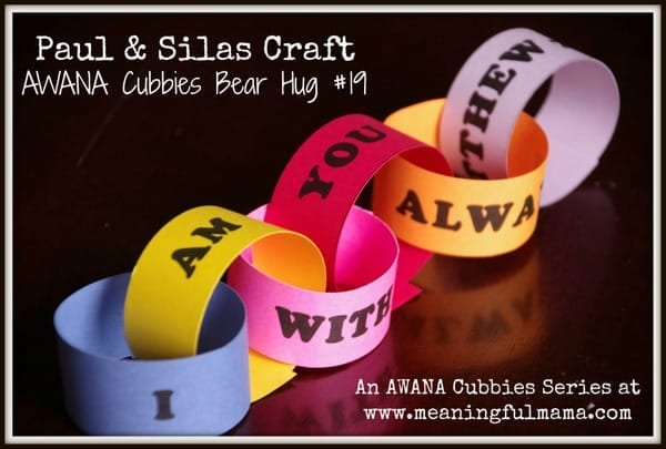 Paul and Silas Craft - AWANA Cubbies Bear Hug #19 - Printable Included...Meaningful Mama