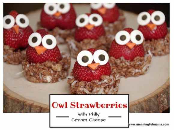 Owl Strawberries made with Philadelphia cream cheese - Meaningful Mama