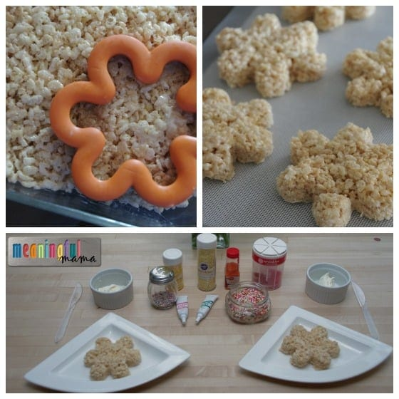 Flower Rice Krispies Treats - Fun Spring Decorating Activity for Kids