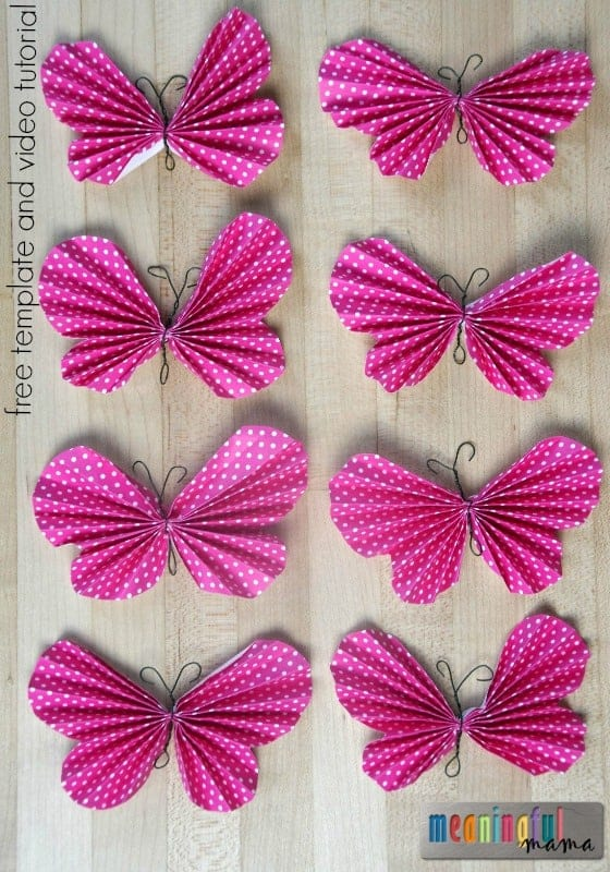How to Make Folded Butterflies - Free Template and Video Tutorail