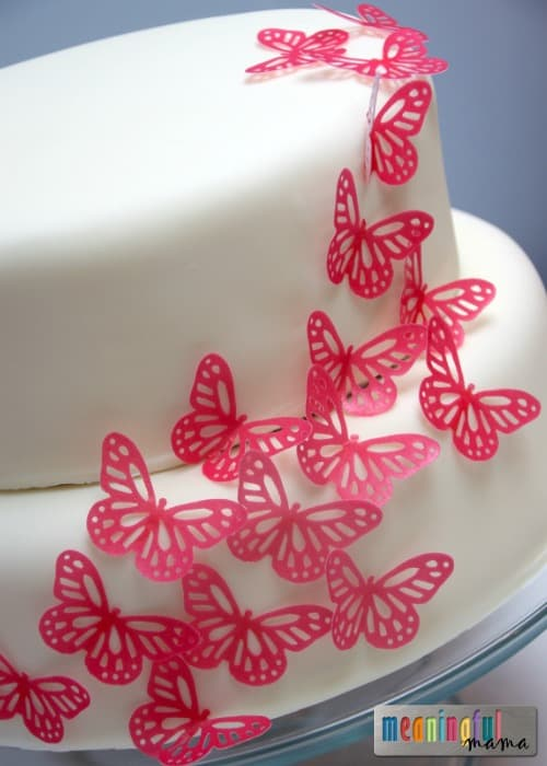 Simple Pink Butterfly Cake Pink Butterfly Birthday Cake Using Rice Paper Butterflies