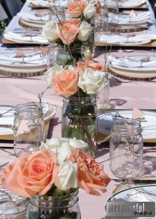 Peach and Gold Natural Baby Shower - Tablescape