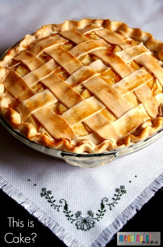 Apple Pie Cake - Cake disguesed as a pie. Fun Thanksgivign dessert for kids. Nov 26, 2014, 3-30 PM