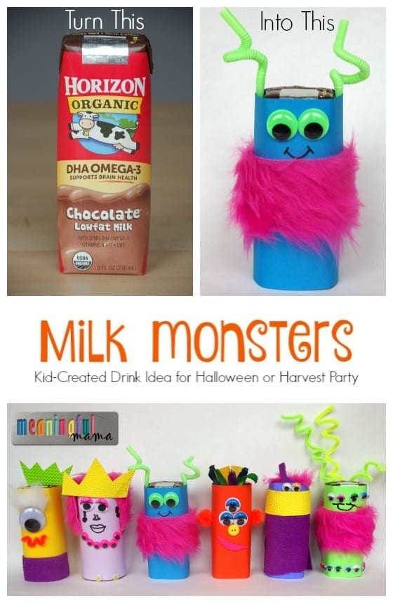 Milk Monsters - Kid Created Drink Idea for Halloween or Harvest Party