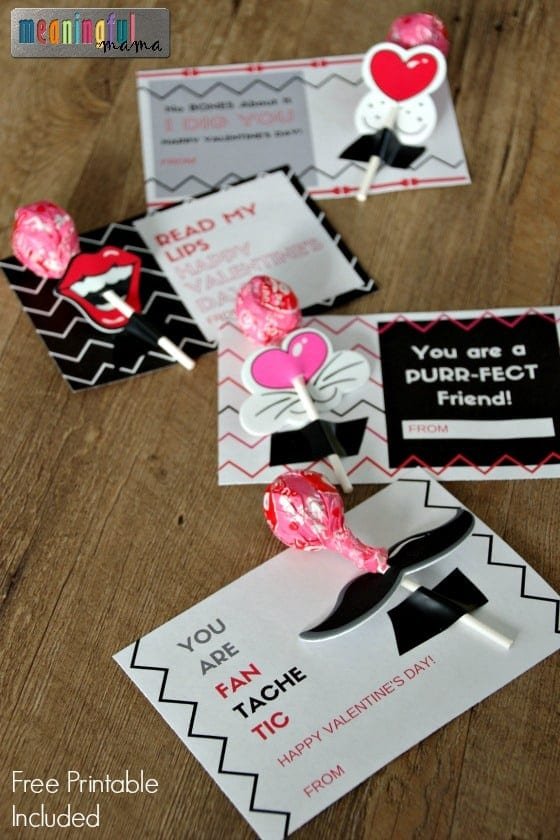 Printable mustache valentines
