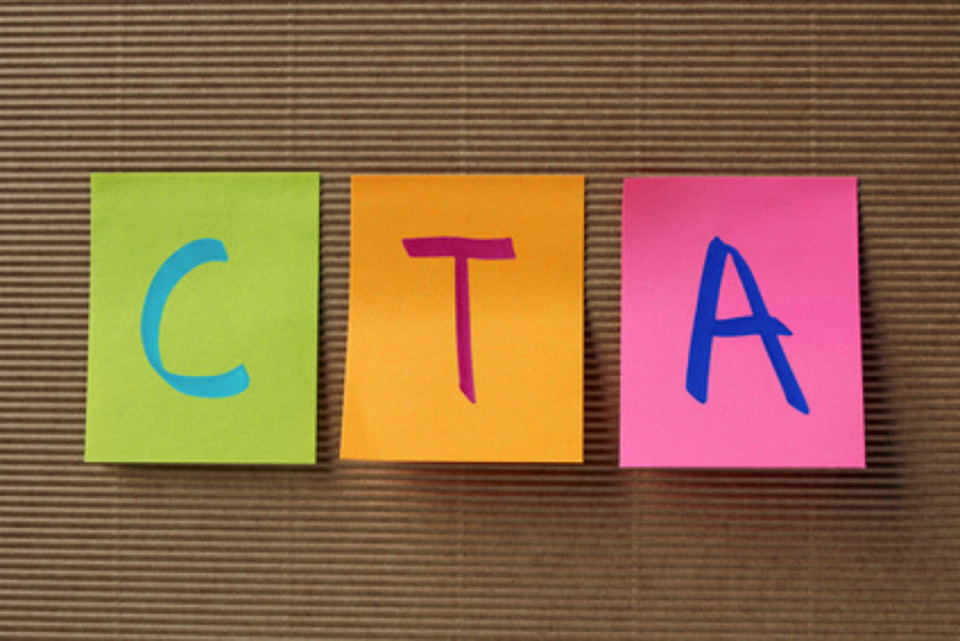CTA (Call To Action) marketing concept on colorful sticky notes