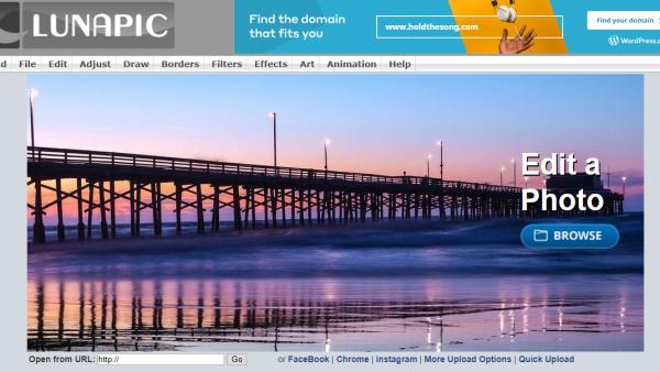 Screenshot of LunaPic homepage