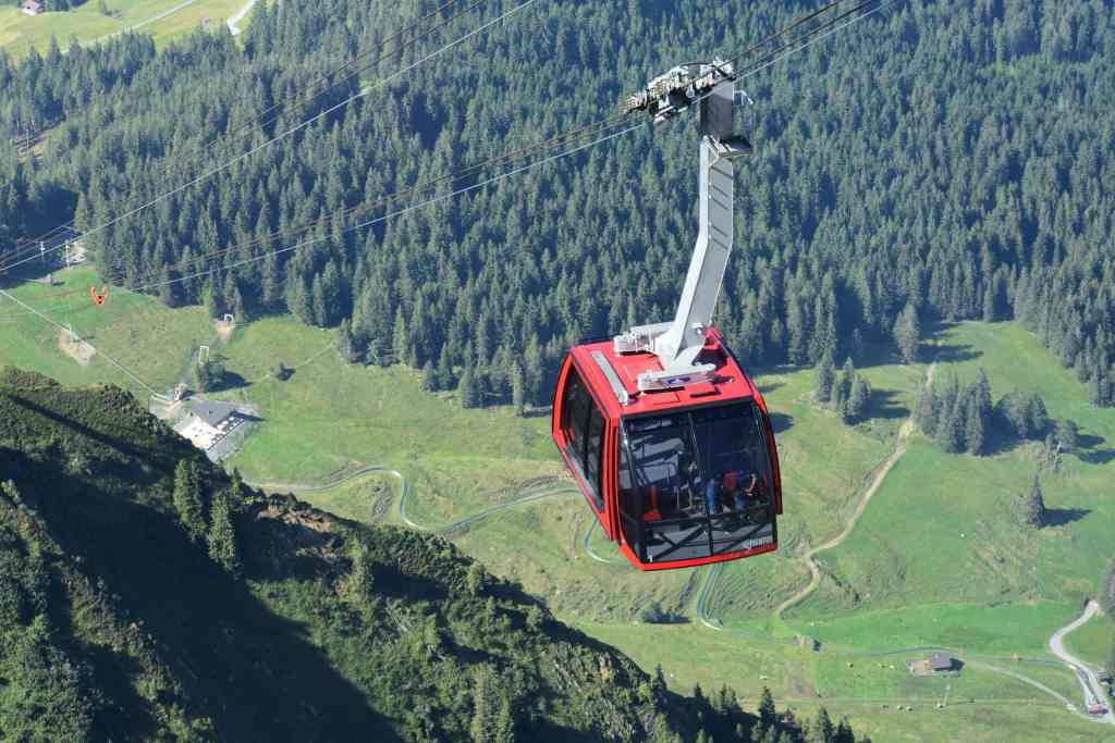red gondola climbs high above an evergreen forest and luge track on the mountainside