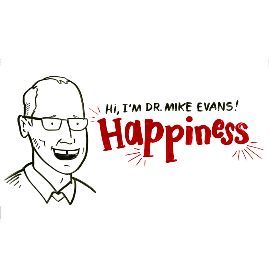 whiteboard image of man with glasses and text Happiness