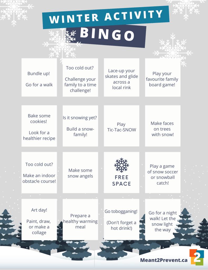 Downloadable winter activity Bingo card