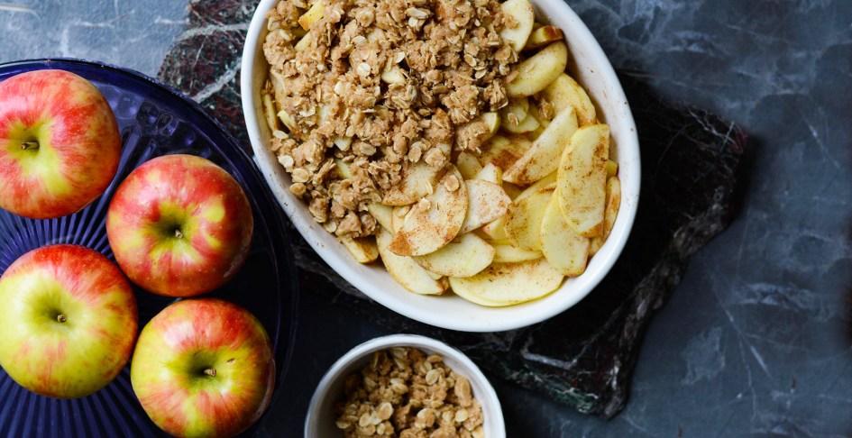 unbaked apple crisp in baking dish