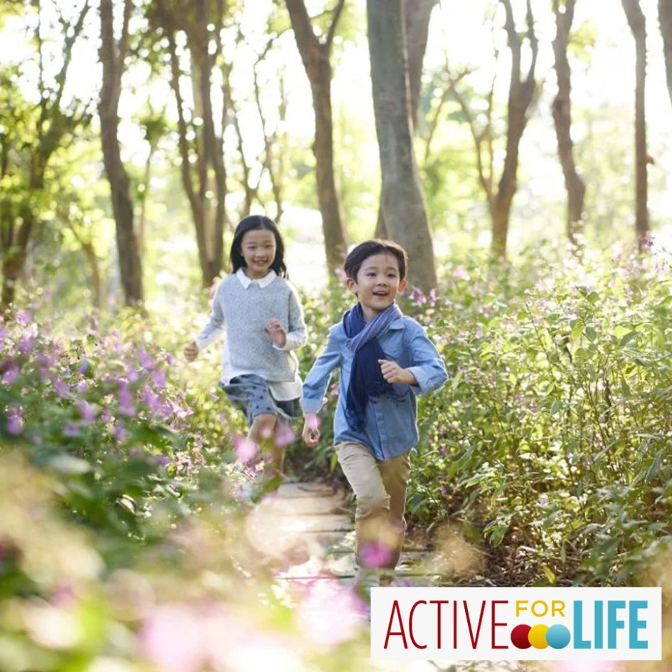 kids running outside in spring