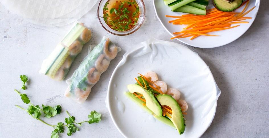 Shrimp spring rolls with avocado and cilantro