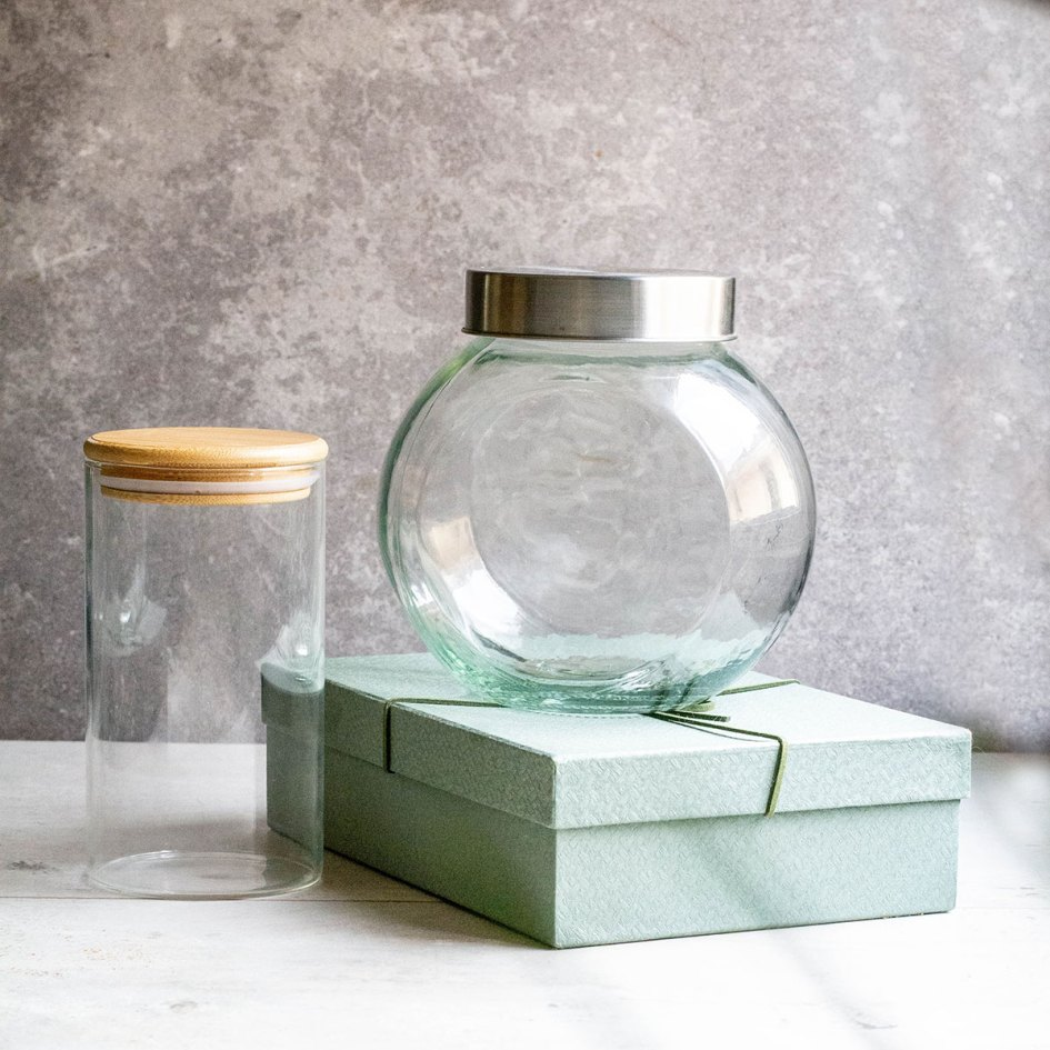 jars and box on table