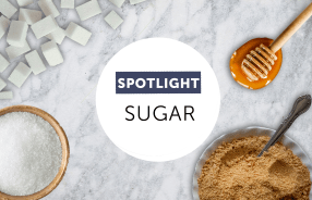 image of sugar, honey, and brown sugar on white background