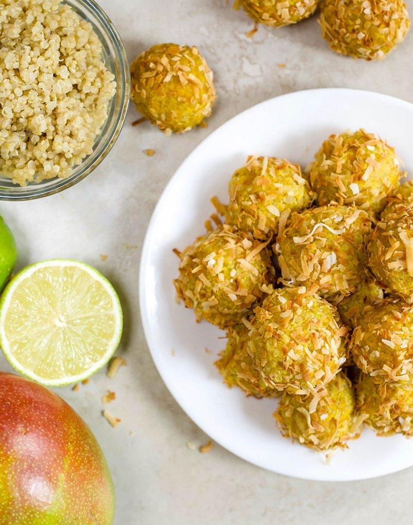 Mango Quinoa Energy bites with lime
