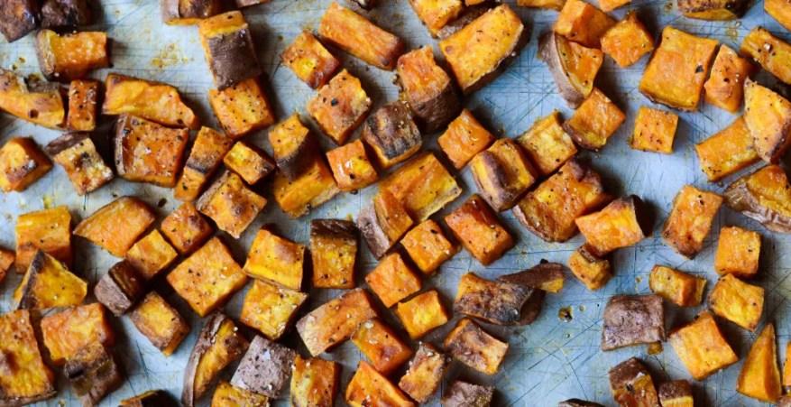 roasted sweet potatoes close
