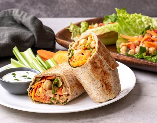 Chickpea wraps on plate with ranch and veggies