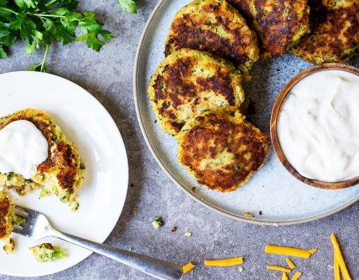 chickpea potato patties with tzatziki sauce