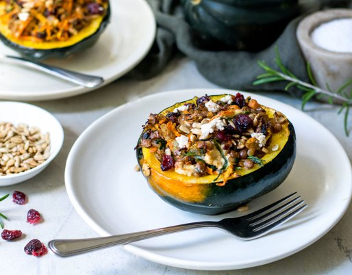 lentil stuffed squash with cheese on top