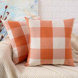 orange-buffalo-plaid-pillow-cover
