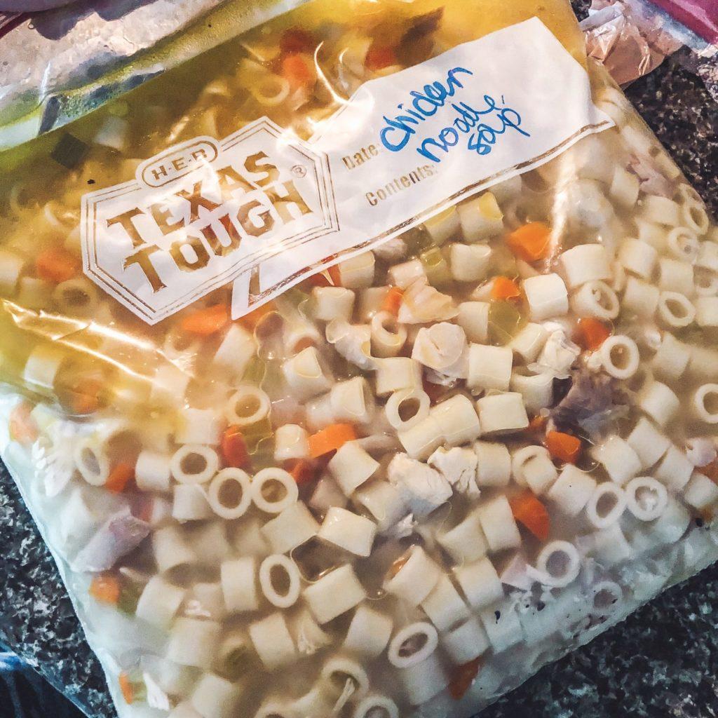 homemade-chicken-noodle-soup-in-freezer-bag-storing-leftovers