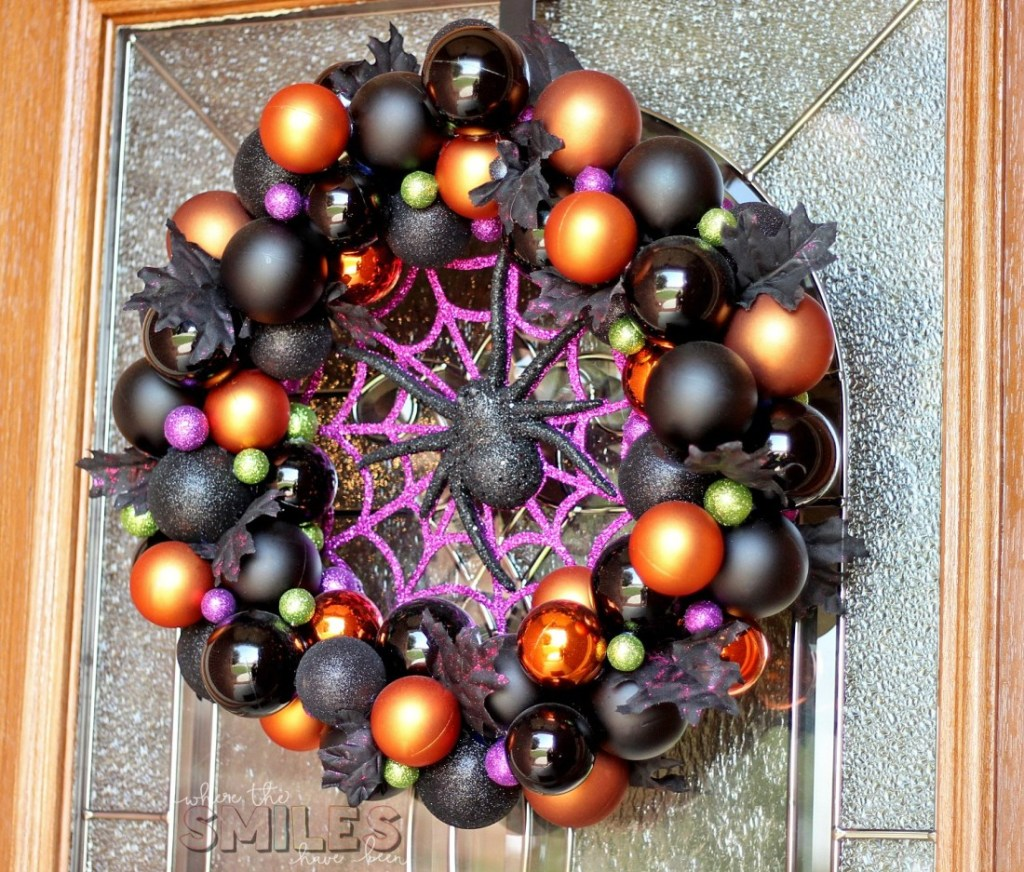 orange black and purple halloween wreath