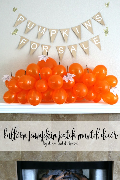 orange balloon display on mantel