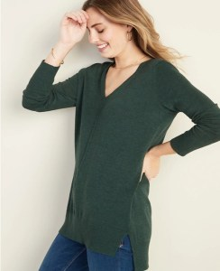 olive-v-neck-sweater