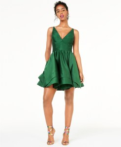 double-tier-fit-and-flare-green-dress