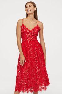 red-v-neck-lace-dress