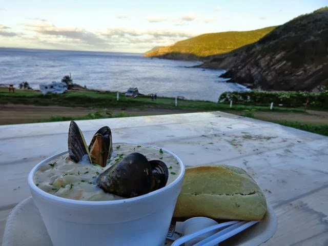seafood chowder at the chowder hut restaurant meat cove
