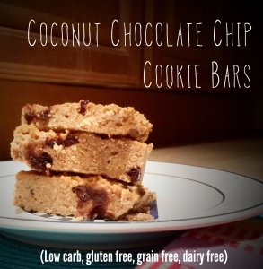Grain free Low Carb Chocolate Chip Cookie Bars